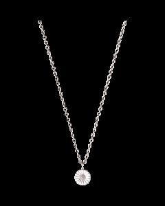 Georg Jensen Daisy halsband m/hängsmycke - rodium silver med vit emalj