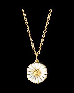Georg Jensen Daisy halsband m/hängsmycke - förgyllt silver med vitt emalj