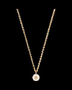 Georg Jensen Daisy halsband med hängsmycke - förgyllt silver med vit emalj