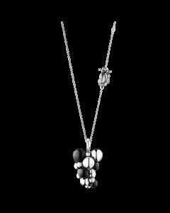 Georg Jensen Moonlight Grapes halsband med hängsmycke - oxiderade silver med svart agat (stor)