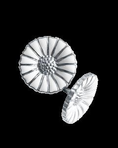 Georg Jensen Daisy örhängen - rodium silver med vitt emalj