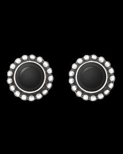 Georg Jensen Moonlight Blossom örhängen - silver med svart agat