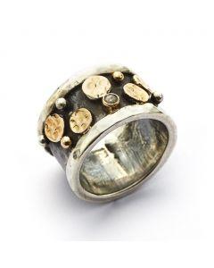 By Birdie Lunar Node Ring i Sterling Sølv med 14 Karat Guld Og 0,05 Carat Diamant