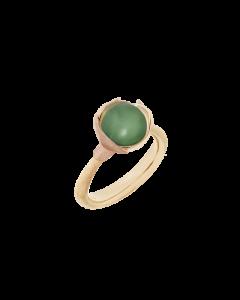 Lotus 18 Karat Guld Ring fra Ole Lynggaard med Grøn Serpentin