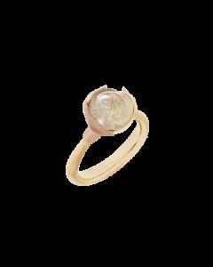 Lotus 18 Karat Guld Ring fra Ole Lynggaard med Rutilkvarts