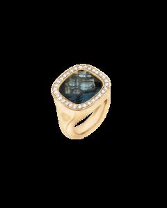 Ole Lynggaard Cushion Ring i 18 Karat Guld med London Blå Topas og Diamanter 0,30 Carat TW/VS