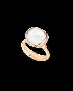 Ole Lynggaard Lotus Ring i 18 Karat Guld med Hvid Hvid Månesten og Brillanter 0,05 Carat TW/VS